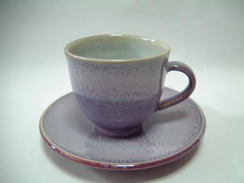 紅桃霜降りコーヒーカップとお皿のセット